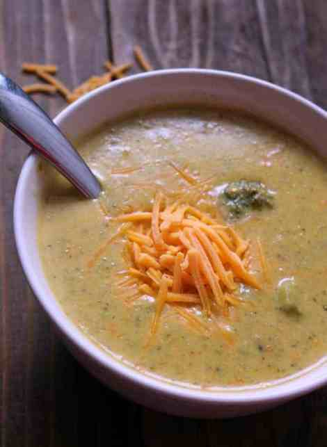Copycat Panera Broccoli and Cheddar Soup Lightened Up
