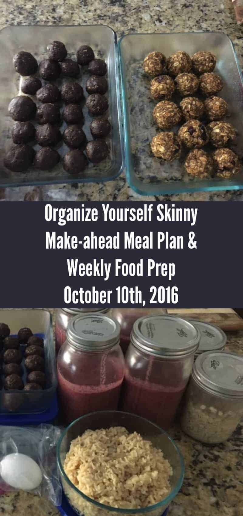Make-ahead Meal Plan weekly Food Prep October 10th 2016