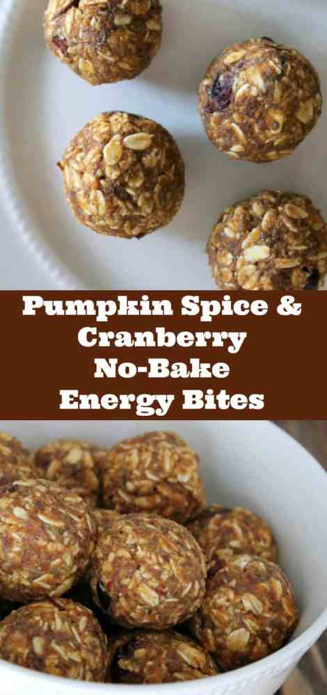 Pumpkin Spice and Cranberry No-bake energy bites