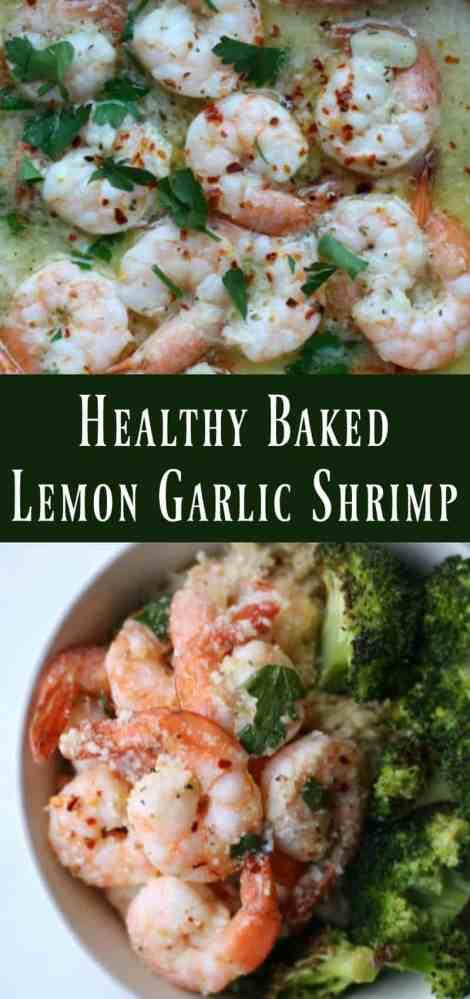 Healthy Baked Lemon Garlic Shrimp