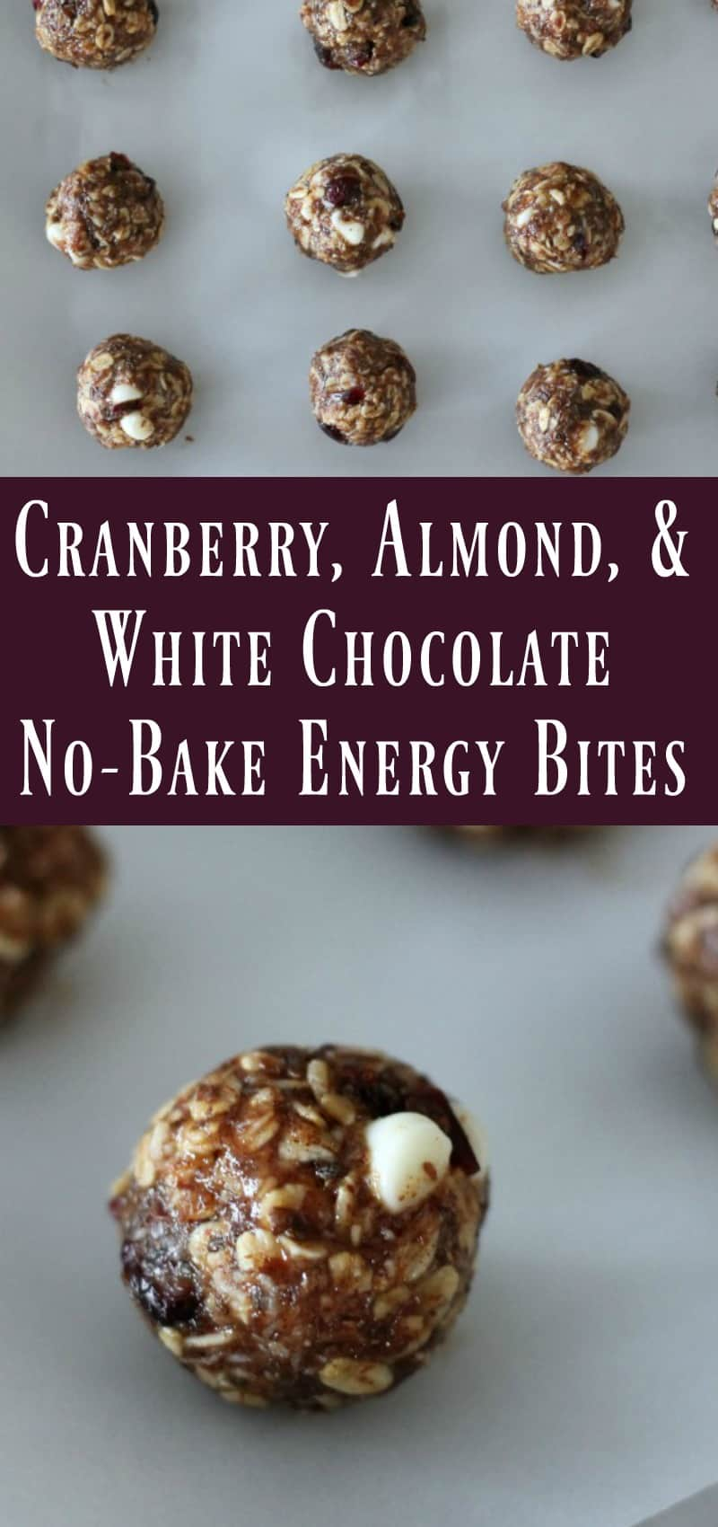 Cranberry Almond White Chocolate No Bake Energy Bite