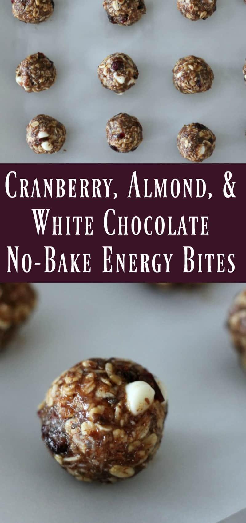 Cranberry Almond White Chocolate No Bake Energy Bite