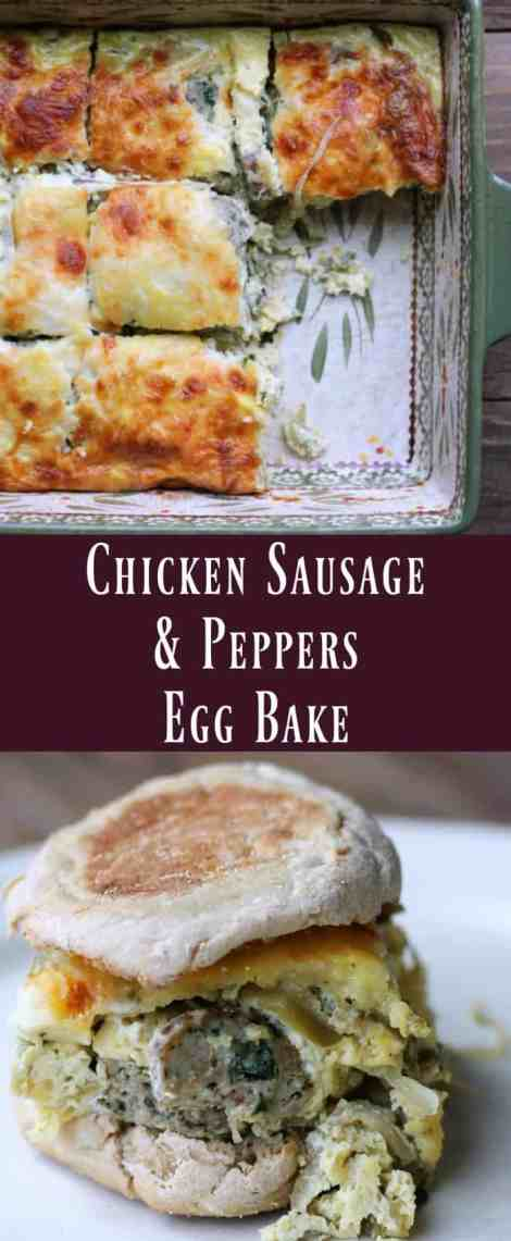 Chicken Sausage and Peppers Egg Bake