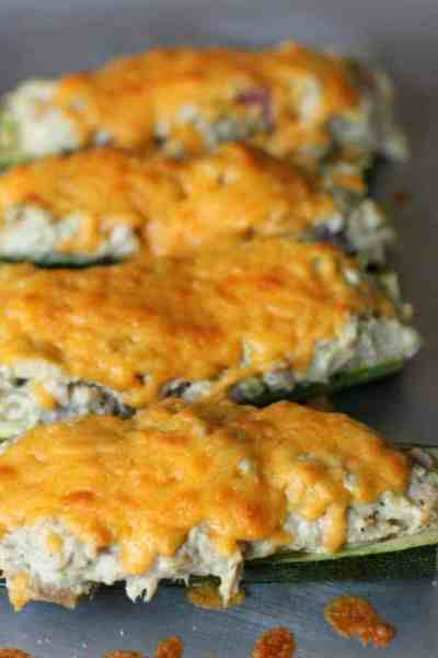 Low Carb Tuna Zucchini Boat Melt
