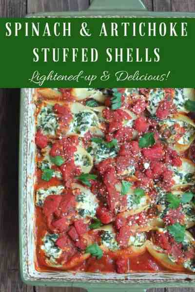 Spinach and Artichoke Stuffed Shells {Lightened-up}
