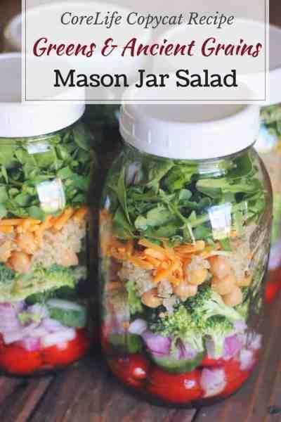 Mason Jar Salad: Greens & Ancient Grains (Copycat CoreLife Recipe)