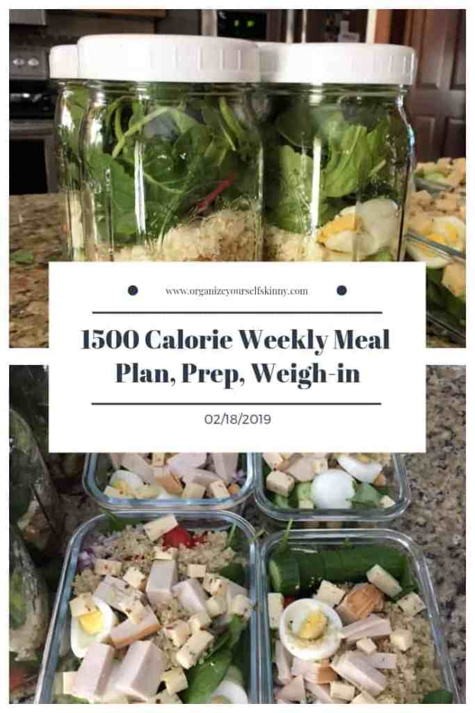1500 Calorie Weekly Meal Plan, Prep, and Weigh-in {February