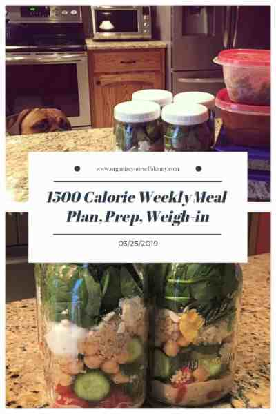 1500 calorie weekly weigh in and food prep for the week