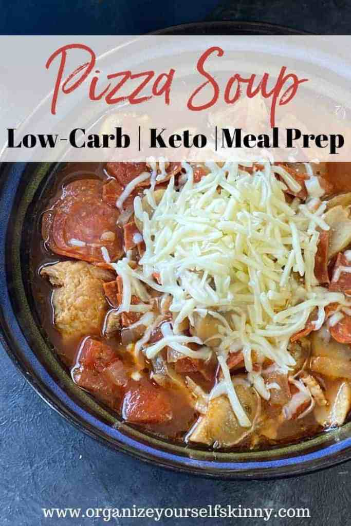 Pizza Soup. Easy meal prep soup recipe that's low carb and keto-friendly.