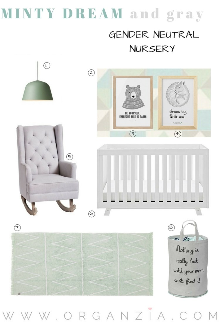 Mint gray baby nursery