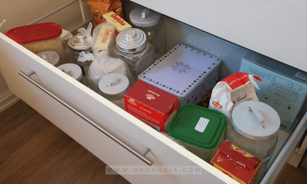 Organized kitchen drawer before
