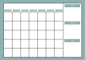 Free month planner printable