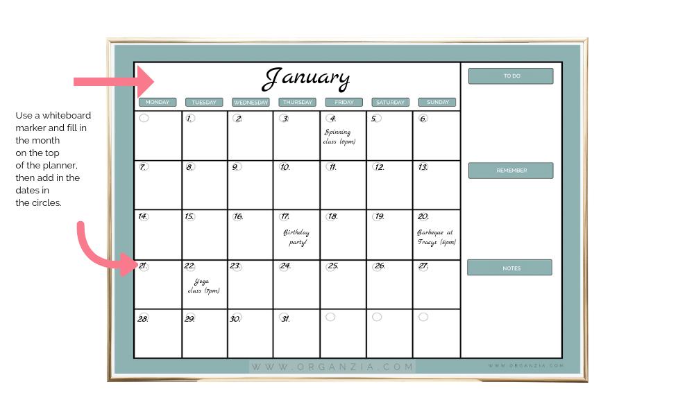DIY Monthly Planner - dry erase planner