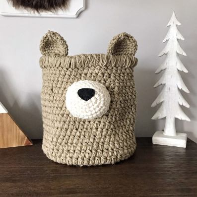 Crochet Tan Bear basket - small toys