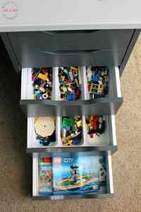 Organize Lego in a desk drawer