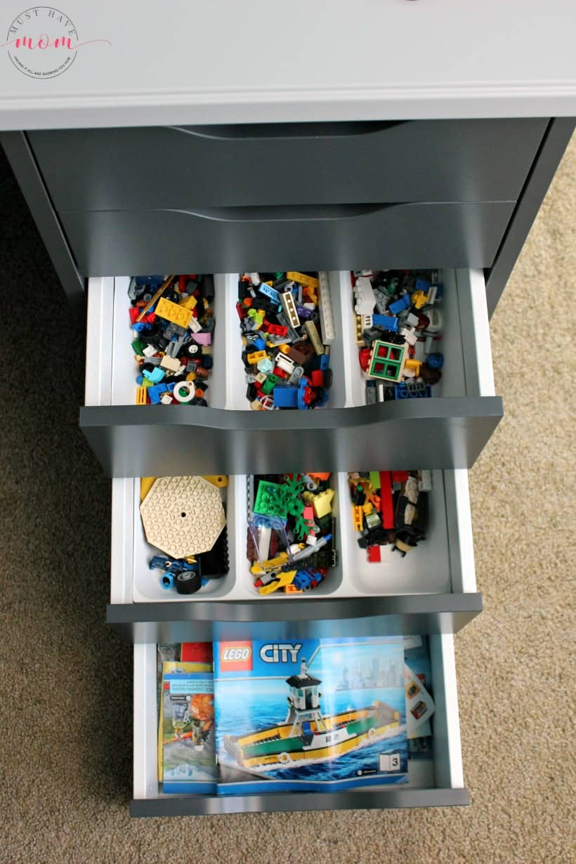 Organize Lego in a desk drawer