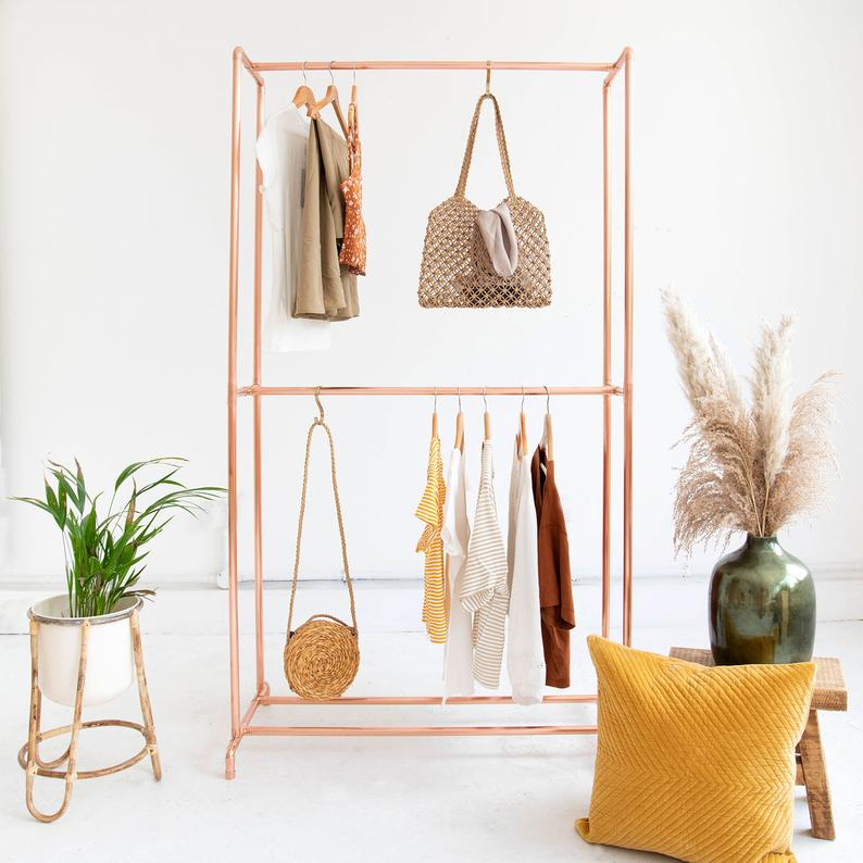 Small space organization for bedroom - space saving clothing rack