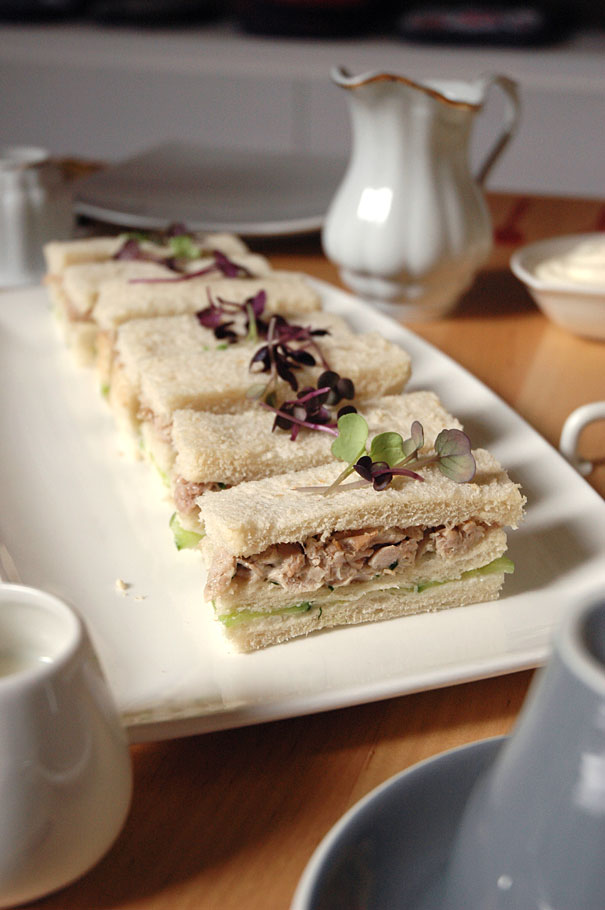tea smoked duck finger sandwiches