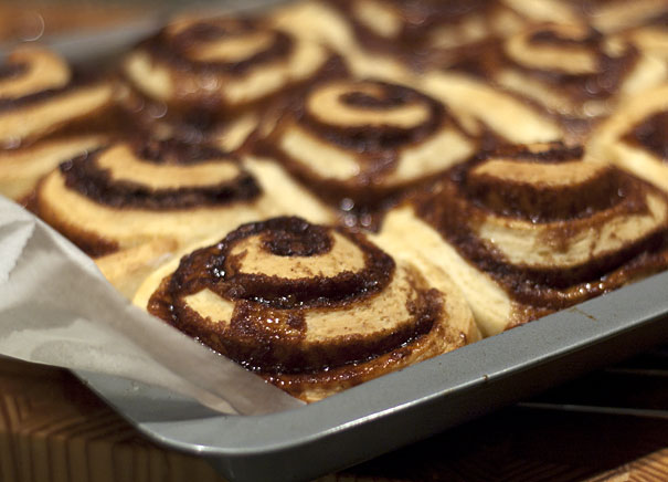 Cinnamon Rolls ready for icing