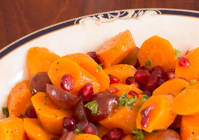 Carrots with Grapes, Honey and Pomegranate