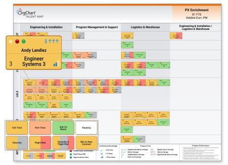 Visualizing, Talent Mapping, and Analyzing to Optimize Workforce Planning, Figure 3. Putting it all together – Talent according to functional area and management level.