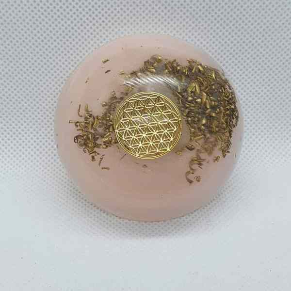 Harmony Personified Orgone Orgonite Orb - Sacred Geometry on top of fabulous lovely and warm Rose Quartz and Gorgeous Brass