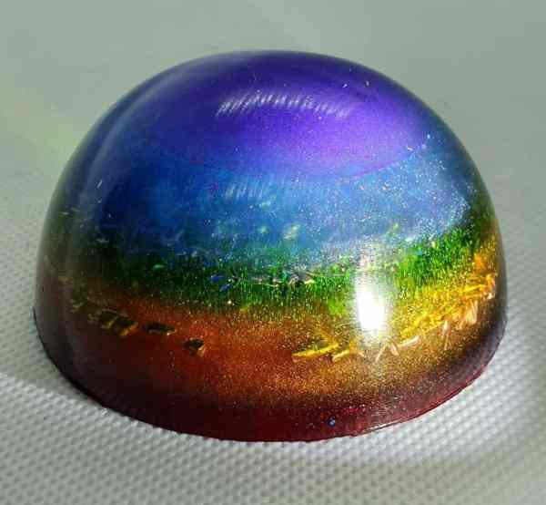 Band of Colour Orgone Orgonite Orb - Our Largest Orb Ever, with Rainbow colouring, rose quartz, brass, clear quartz, tourmaline, and more!