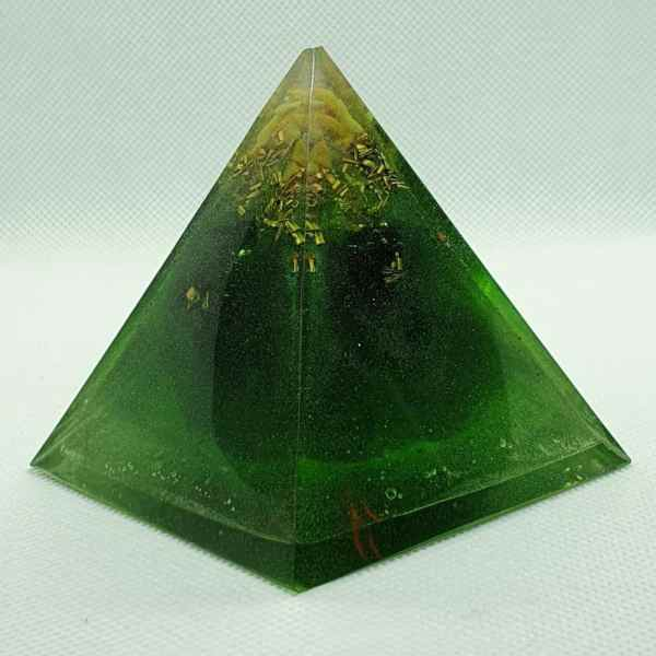 Piece of Mind Orgone Orgonite Pyramid 6cm - Radiating with a Black Tourmaline Centre for strength, Citrine, Gold Celestite, with Brass Protection, I wonder what you will see?
