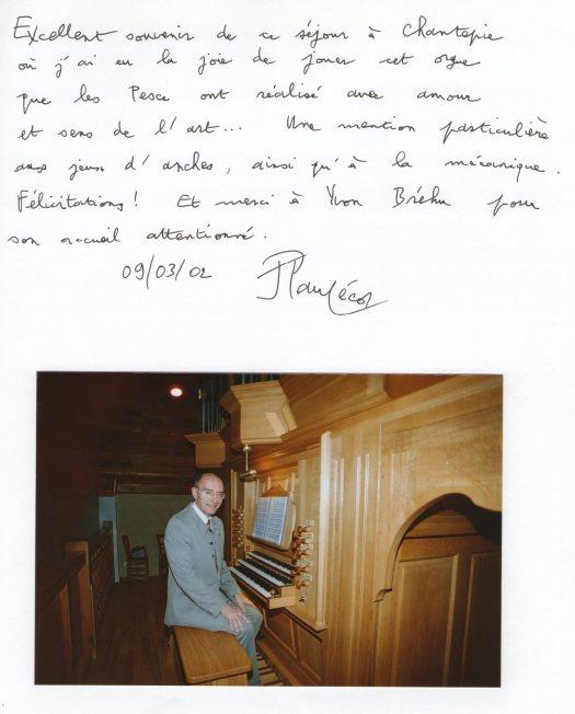 Dédicace de Jean-Paul Lécot sur le Livre d'Or de l'orgue de Chantepie.
