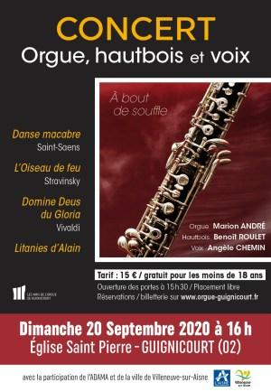 Affiche du concert du 20 septembre 2020