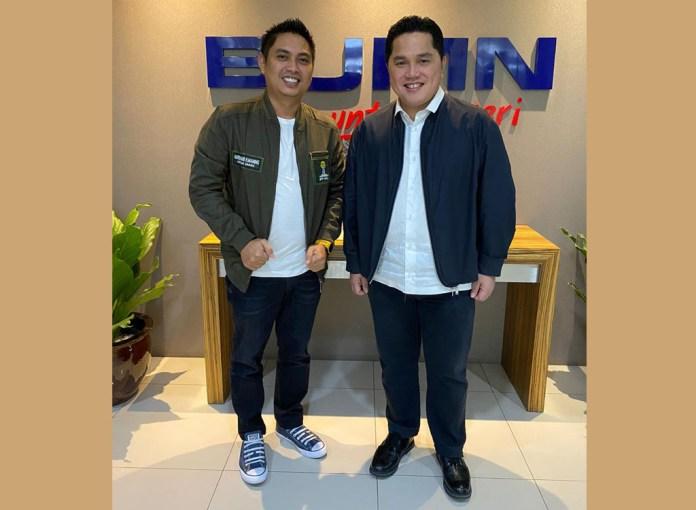 Ketua Umum BPP Hipmi Mardani H. Maming dan Menteri Badan Usaha Milik Negara, Erick Thohir