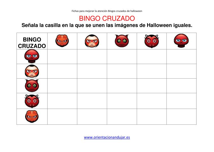 Materiales de atención; Bingos cruzados halloween 5x5. Incluimos ...