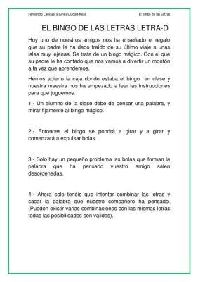 LECTOESCRITURA BINGO LETRAS LETRA D