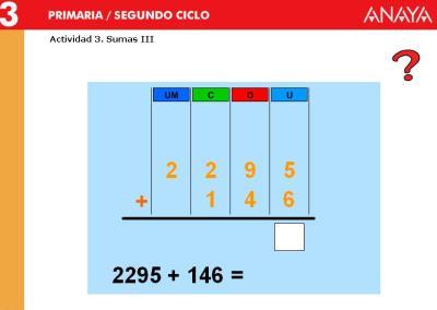 Sumas de 2 sumandos 4 cifras CON  llevada