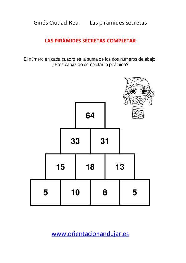 Sumas primaria colección 1001 pirámides secretas nivel inicial ...