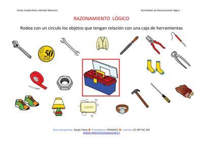 RAZONAMIENTO  LÓGICO categorizar y agrupar CAJA HERRAMIENTAS COLOR IMAGEN