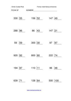 Coleccion 1000 fichas de Divisiones exactas numero tres cifras entre ...