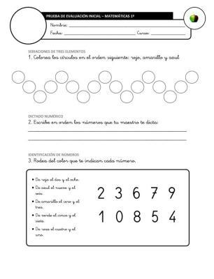 Evaluación Inicial Matemáticas 1º IMAGEN