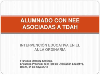 INTERVENCIÓN EDUCATIVA TDAH EN EL AULA ORDINARIA imagen