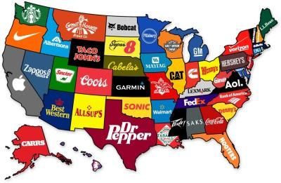 La marca más famosa de cada estado en los EE.UU.