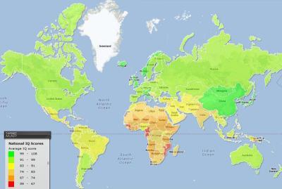 Mapa Mundial con los cocientes intelectuales