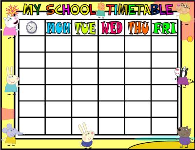 My School Timetable PEPPA PIG