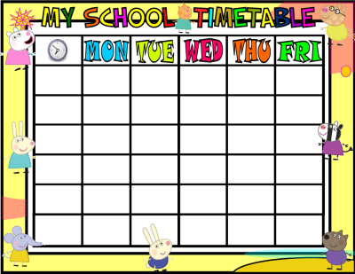 My School Timetable PEPPA PIG