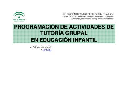 PROGRAMACIÓN DE ACTIVIDADES DE TUTORÍA GRUPAL PARA INFANTIL IMAGEN