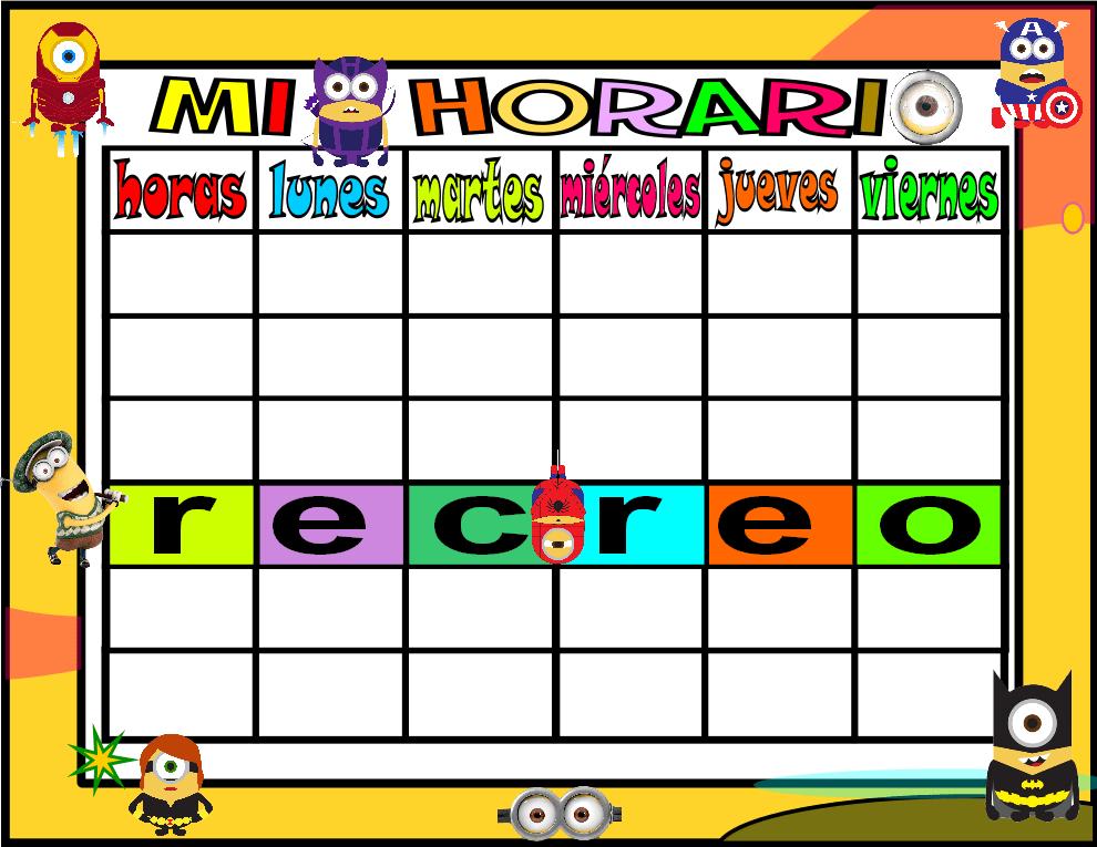horario 5 HORAS-2 minions