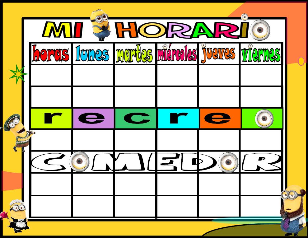 horario 6 HORAS-1 comedor minions