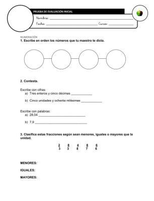 Evaluación Inicial Matemáticas 6º IMAGEN