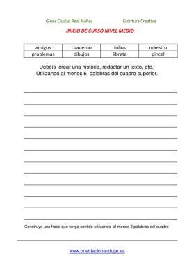 colección de escritura creativa INICIO DE CURSO NIVEL MEDIO