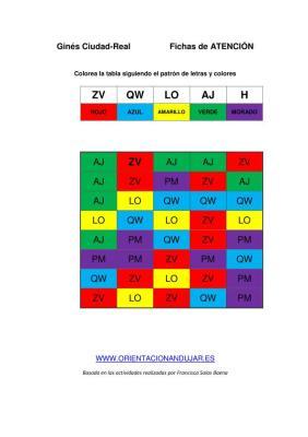 COMPLETA LA TABLA SEGUN PATRON letras colores ficha de trabajo editable imagen 1