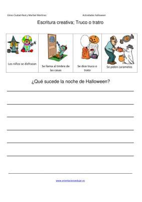 Escritura creativa truco o trato que sucede en halloween IMAGEN